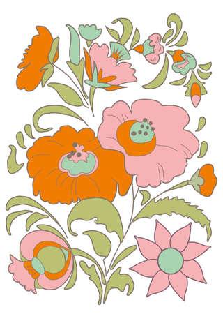 folkart: Ethnic flowers bouquet Floral folk art Folkart Flower pattern Vintage background illustration Ethnic decoration flowers folk ethnic theme Card exotic Fabulous floral pattern Illustration