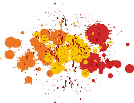 Background with blots and splashes of paint. Yellow, red and orange blobs Illustration