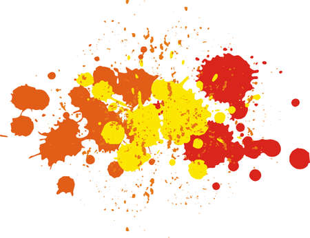 Yellow, red and orange blobs. Background with blots and splashes of paint. Autumn pattern