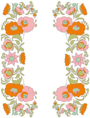 folkart: Flowers on white background folk art style Ethnic flowers Floral folk art Folkart Flower pattern Vintage background illustration Ethnic decoration flowers folk ethnic theme Card exotic Illustration