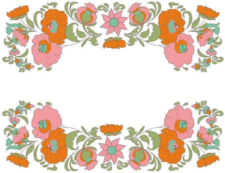 folkart: Fabulous Floral Pattern Ethnic flowers Floral folk art Folkart Flower pattern Vintage background illustration Ethnic decoration flowers Folk ethnic theme Card exotic