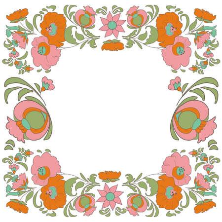 folkart: Ethnic flowers Floral folk art vorder Folkart Flower pattern Vintage background illustration Ethnic decoration flowers folk ethnic theme Card exotic Fabulous floral pattern Illustration