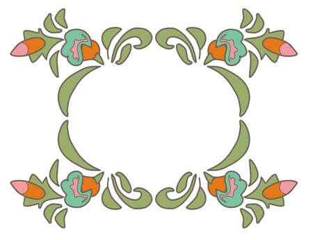 folkart: Vintage floral frame Ethnic flowers Floral folk art Folkart Flower pattern illustration Ethnic decoration flowers folk ethnic theme Card exotic Fabulous floral pattern