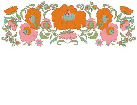 folkart: Ethnic flowers Floral folk art border Folkart Flower pattern Vintage background illustration Ethnic decoration flowers folk ethnic theme Card exotic Fabulous floral pattern