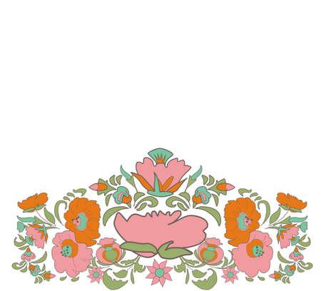 folkart: Ethnic decoration flowers folk ethnic theme Ethnic flowers Floral folk art Folkart Flower pattern Vintage background illustration Card exotic Fabulous floral pattern