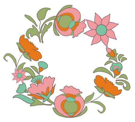 folkart: Vintage floral background. Flowers folk art style. Fabulous ethnic pattern Round floral frame Illustration
