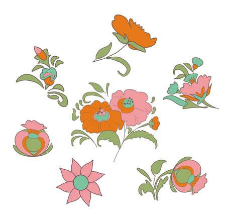 folkart: Set of fabulous vintage flowers in ethnic folk style for your design ideas