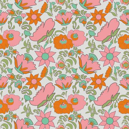 fabulous: Fabulous ethnic pattern gray color. Vintage floral background. Flowers folk art style.