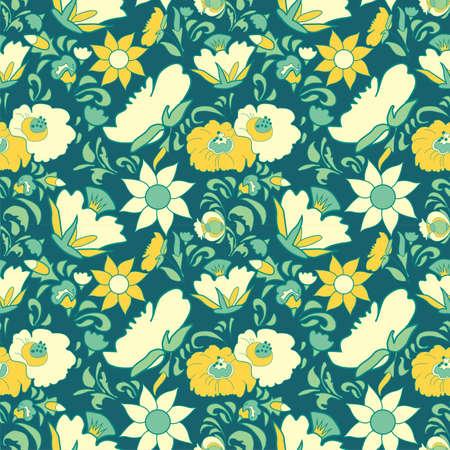 fabulous: Vintage floral background. Flowers folk art style. Fabulous ethnic pattern blue color