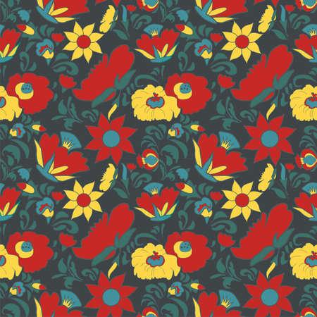 fabulous: Vintage floral background. Flowers folk art style. Fabulous ethnic pattern dark blue color Illustration