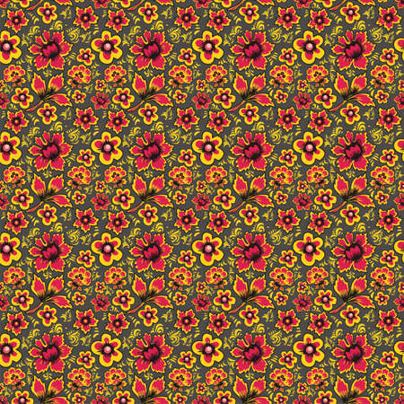 folkart: Russian Folk Art Khokhloma. Abstract Flowers on a gray background. Floral Seamless Pattern.Fabulous Vintage Ethnic Floral print