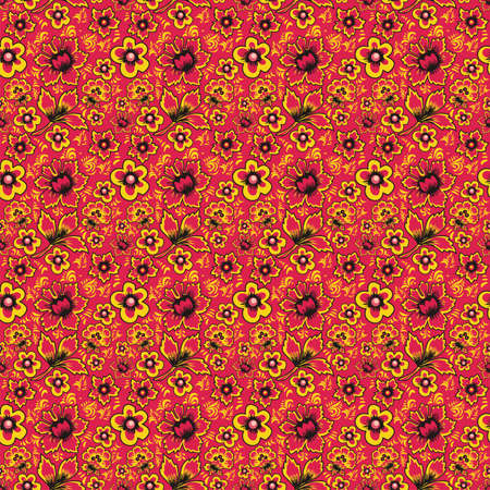 folkart: Russian folk art Khokhloma. Abstract flowers on a red background. Floral seamless pattern. Fabulous vintage ethnic floral print Illustration