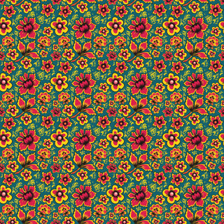 folkart: Abstract Flowers on a blue Background. Floral Seamless Pattern. Russian Folk Art Khokhloma. Fabulous vintage ethnic floral print