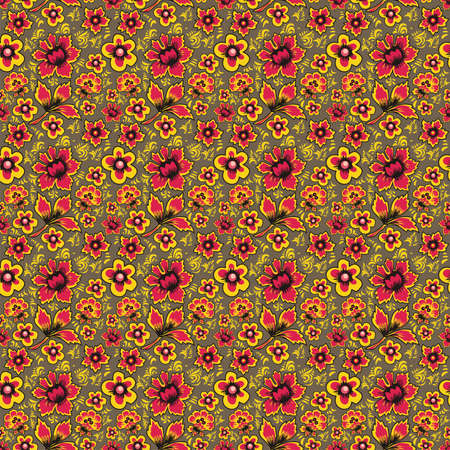 folkart: Floral seamless pattern Russian Folk Art Oklahoma Fabulous Vintage Ethnic floral print Abstract Flowers on a brown background. Illustration