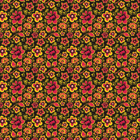 folkart: Russian Folk Art Khokhloma. Abstract Flowers on a black background. Floral Seamless Pattern. Fabulous Vintage Ethnic Floral Print. Russian folk style