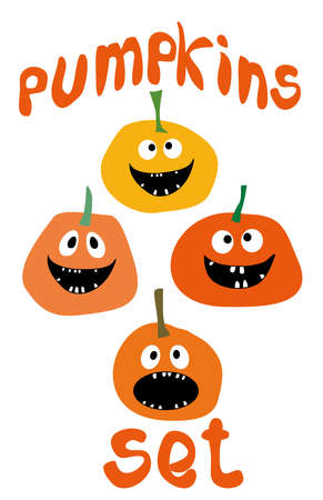 pumpkin head: Halloween funny Pumpkin icons set Simple flat style design Pumpkins with Jack O`Lantern face isolated on white background Set Pumpkins for Halloween Pumpkin vector Pumpkin head icon