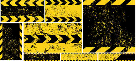 diagonal stripes: Black Yellow Road Sign diagonal Stripes on Grunge Background Automobile horizontal and vertical Banners Road Pattern Car Service Under Construction Set Car banners