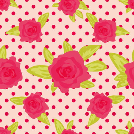 calico: Romantic background with large roses on a pink background with polka dot. Cute vintage floral pattern. Vector illustration Ornament with painted flowers. Template repeating, seamless Illustration