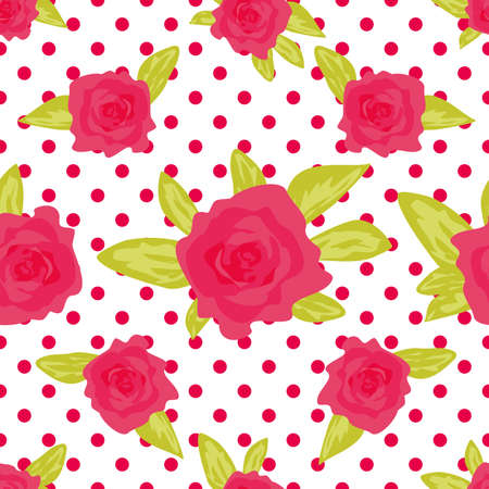 calico: Romantic background with large roses on a white background with polka dot. Illustration