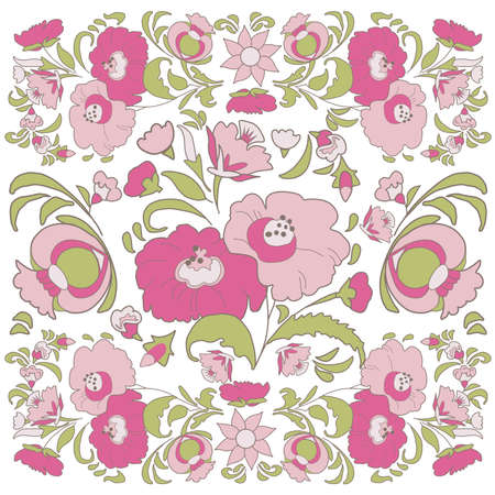 folkart: Floral background with painted flowers in folk style, Russian, Gypsy, Hungarian folkart Pink color Illustration