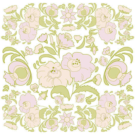 folkart: Floral background with painted flowers in folk style, Russian, Gypsy, Hungarian folkart Light color Illustration