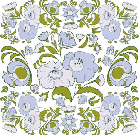 folkart: Floral background with painted flowers in folk style, Russian, Gypsy, Hungarian folkart Blue and lavender color