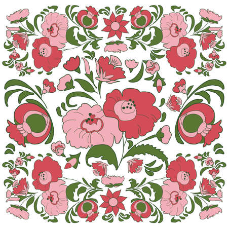 folkart: Floral background with painted flowers in folk style, Russian, Gypsy, Hungarian folkart Pink and green color Illustration