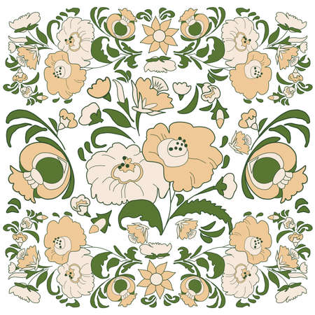 folkart: Floral background with painted flowers in folk style, Russian, Gypsy, Hungarian folkart Beige and green color Illustration