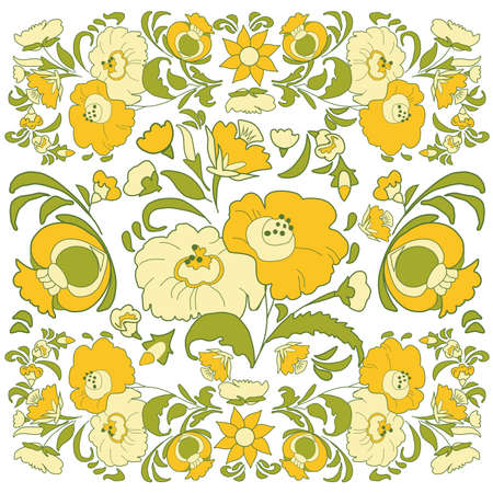 folkart: Floral background with painted flowers in folk style, Russian, Gypsy, Hungarian folkart Yellow and green color