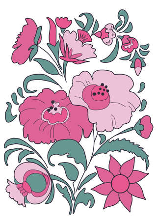 Bouquet of exotic flowers painted in a folk style Pink color Illustration