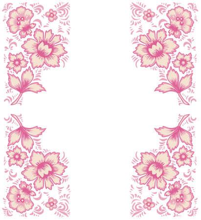 folkart: Card exotic flowers.Fabulous floral pattern. Russian folk art Khokhloma. Original wedding invitation. Ethnic background. Different shades of pinc color