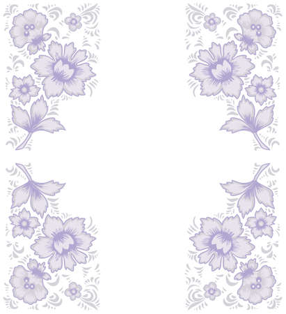 folkart: Card exotic flowers.Fabulous floral pattern. Russian folk art Khokhloma. Original wedding invitation. Ethnic background. Different shades of lilac and lavender colors