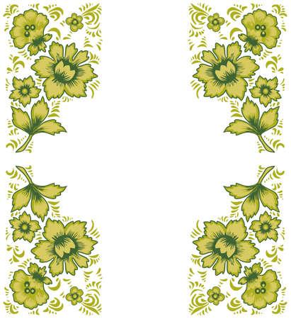 folkart: Card exotic flowers.Fabulous floral pattern. Russian folk art Khokhloma. Original wedding invitation. Ethnic background. Different shades of green color