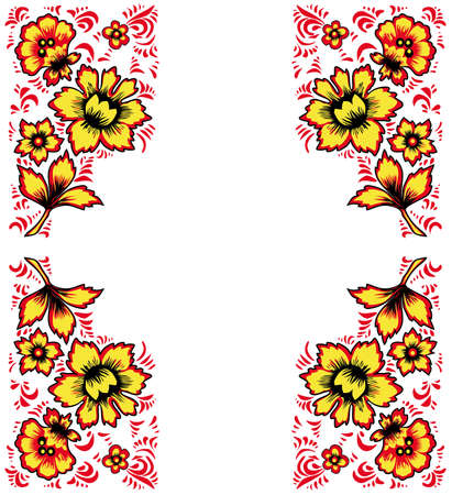 Card exotic flowers.Fabulous floral pattern. Russian folk art Khokhloma. Original wedding invitation. Ethnic background. Different shades of red and yellow colors Illustration