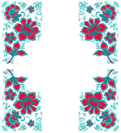 folkart: Card exotic flowers.Fabulous floral pattern. Russian folk art Khokhloma. Original wedding invitation. Ethnic background. Different shades of pink and blue colos