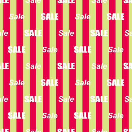 Sale simple background. Red and green stripes and white lettering Sale Wallpaper Closeout banner Selloff seamless pattern Vector illustration Illustration