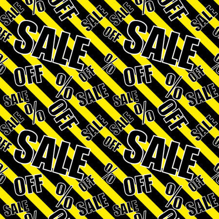 Sale background Black. Black and yellow color Closeout seamless pattern, Clearance wallpaper Selloff and Sellout theme
