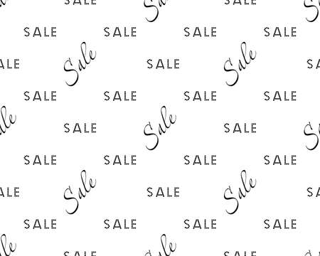 Sale simple background Black on white color Sale background Closeout seamless pattern, Clearance wallpaper Selloff and Sellout theme Vector illustration