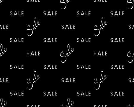 Sale simple background white on black color Sale background Closeout seamless pattern, Clearance wallpaper Selloff and Sellout theme Vector illustration