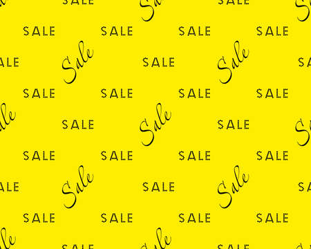 Sale simple background Black on yellow color Sale background Closeout seamless pattern, Clearance wallpaper Selloff and Sellout theme Vector illustration Illustration