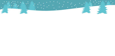 Beautiful landscape with Christmas trees, snowbank and snow with copy space Winter background. Flat style Gray and black color Winter or Christmas web banner Vector illustration Horizontal