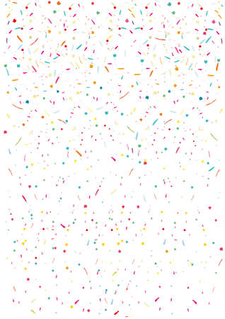 Colorful confetti vector background Vertical, square. Pattern with small particles, grains like chocolate chips pastry Bright backdrop on white Flying streamers and confetti Falling On Imagens - 72955616