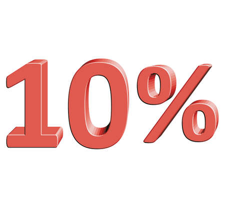 per: 10% Vector illustration with 3D effect Percentage rate icon on a white background Ten percent Discount Tag Special Offer Label Sale Symbol Illustration