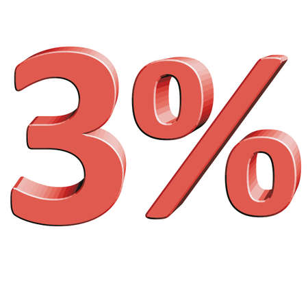 3% Vector illustration with 3D effect Percentage rate icon on a white background Three percent Discount Tag Special Offer Label Sale Symbol Illustration