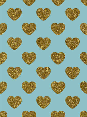 The glittery gold hearts. The theme of love and Valentines Day. Festive background. Beautiful festive shiny pattern. Rectangular vertical orientation