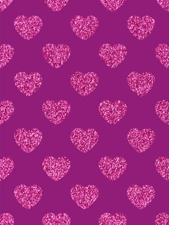 The glittery pink hearts. The theme of love and Valentines Day. Festive background. Beautiful festive shiny pattern. Rectangular vertical orientation
