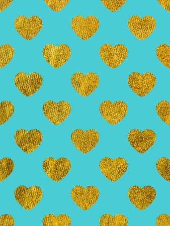Golden hearts on a blue background. The theme of love and Valentines Day.