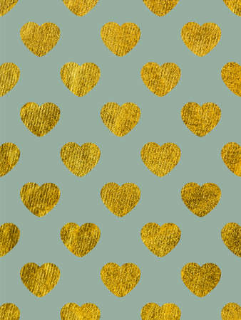 Golden hearts on a blue background. The theme of love and Valentines Day. Beautiful festive shiny pattern. Rectangular vertical orientation Stock Photo