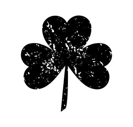 Clover leaf isolated black on white background. Silhouettes of three leaf clover in flat style with abrasion, spots and scratches. The effect of abrasion and distressed. Illustration