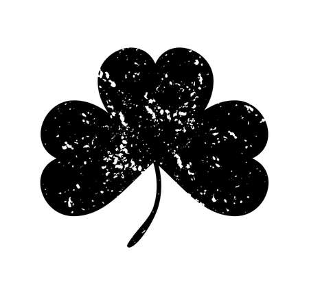 clover leaf shape: Clover leaf isolated black on white background.